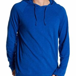 AARON PO Hoodie Pullover Knit Solid Blue Cotton
